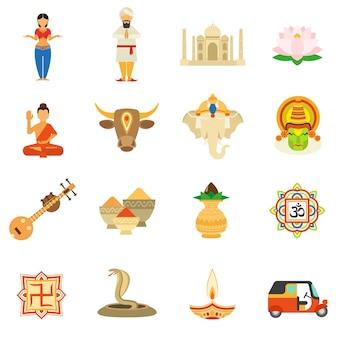 Conjunto de ícones da índia plana