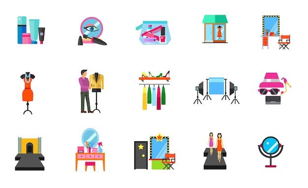 Conjunto de ícones da indústria da moda
