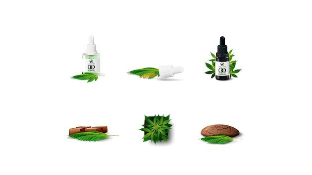 Conjunto de ícones da indústria de cannabis volumétrica, isolado no fundo branco. cannabis em uma panela, óleo cbd e chocolate cbd