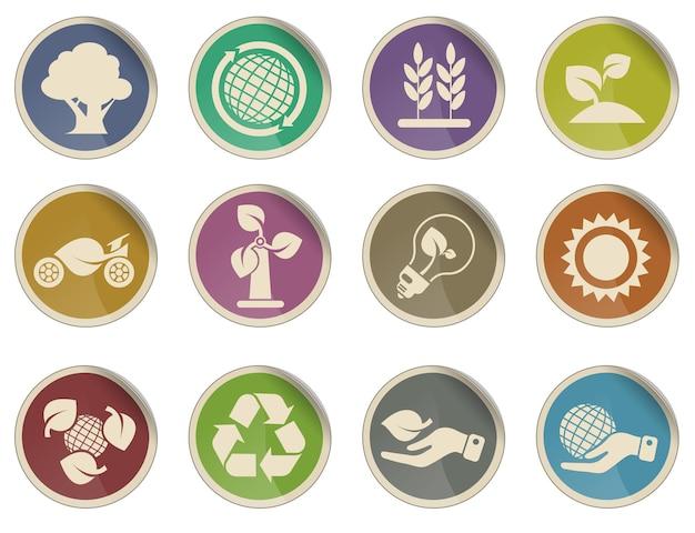 Conjunto de ícones da indústria de ecologia e energia