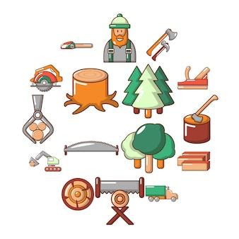 Conjunto de ícones da indústria de madeira, estilo cartoon