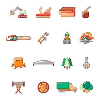 Conjunto de ícones da indústria de madeira