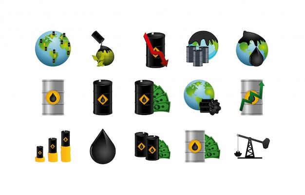 Conjunto de ícones da indústria de petróleo isolado vector design