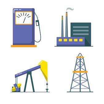Conjunto de ícones da indústria de petróleo