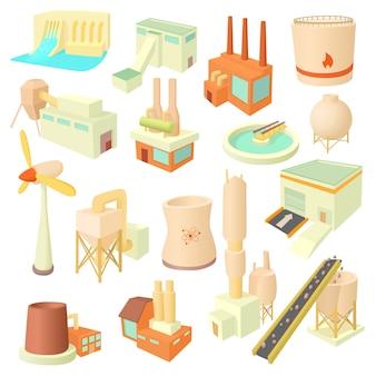 Conjunto de ícones da indústria em estilo cartoon