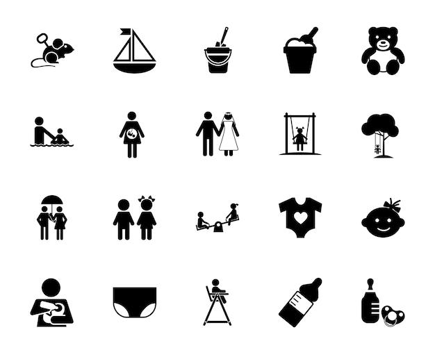Conjunto de ícones da infância