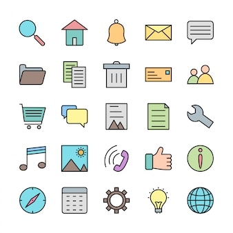 Conjunto de ícones da interface do usuário básica para uso pessoal e comercial