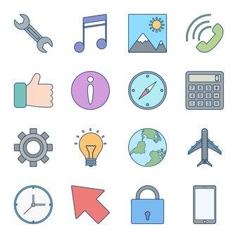 Conjunto de ícones da interface do usuário básica