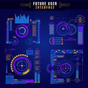 Conjunto de ícones da interface do usuário futuro