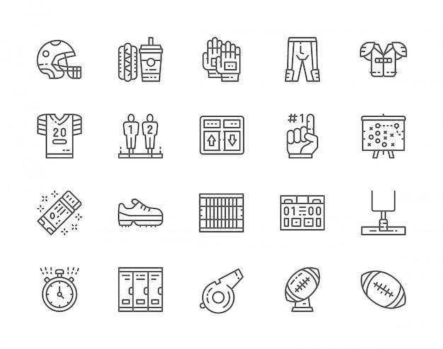 Conjunto de ícones da linha de futebol americano. placar do jogo, fast food, uniforme esportivo, capacete, dedo de espuma, esquema de plano, cronômetro, apito de árbitro, troféu de bola e muito mais.