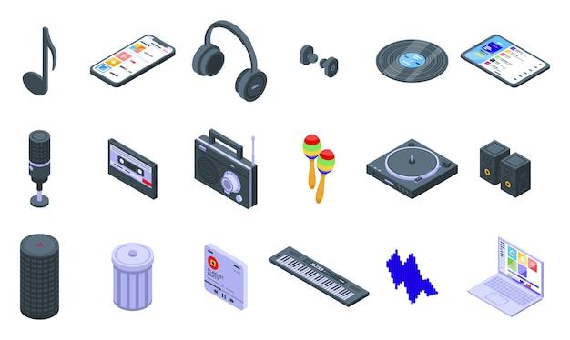 Conjunto de ícones da lista de reprodução. conjunto isométrico de ícones de vetor de lista de reprodução para web design isolado no espaço em branco