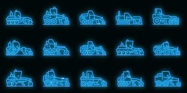 Conjunto de ícones da máquina niveladora. conjunto de contorno de ícones de vetor de máquina motoniveladora cor de néon no preto