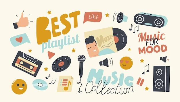 Conjunto de ícones da melhor lista de reprodução para o tema da coleção de músicas