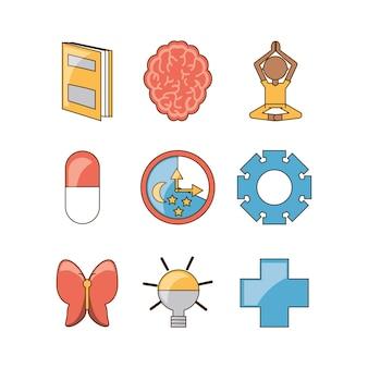 Conjunto de ícones da mente de saúde mental e pacífica
