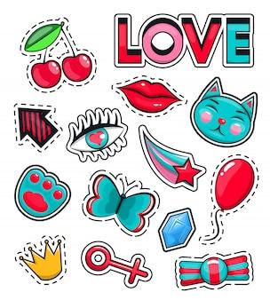 Conjunto de ícones da moda coleção de adesivos
