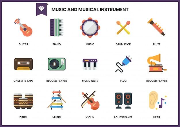 Conjunto de ícones da música para negócios
