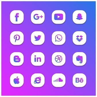 Conjunto de ícones da rede social incandescente abstrata azul e roxa