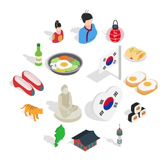 Conjunto de ícones da república da coreia, 3d isométrico ctyle