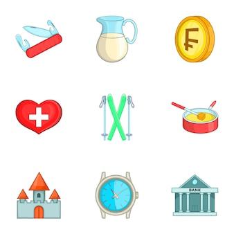 Conjunto de ícones da suíça, estilo cartoon