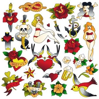 Conjunto de ícones da velha escola de tatuagem