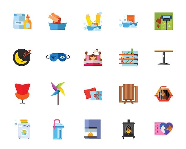 Conjunto de ícones da vida doméstica
