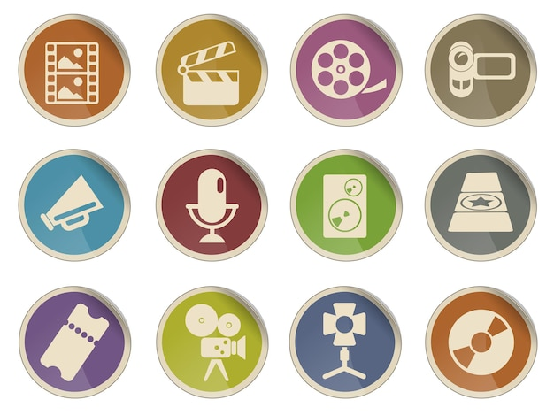 Conjunto de ícones da web da indústria cinematográfica