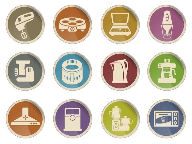 Conjunto de ícones da web de utensílios de cozinha
