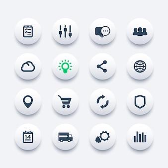 Conjunto de ícones da web, internet, comércio eletrônico, compras, comunicação, negócios, análises