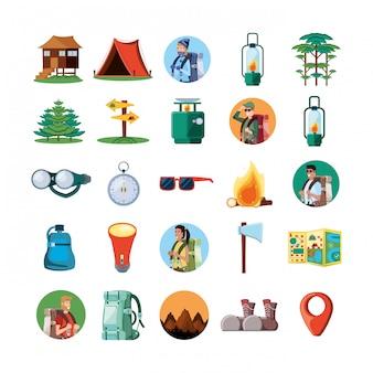 Conjunto de ícones da zona de campismo