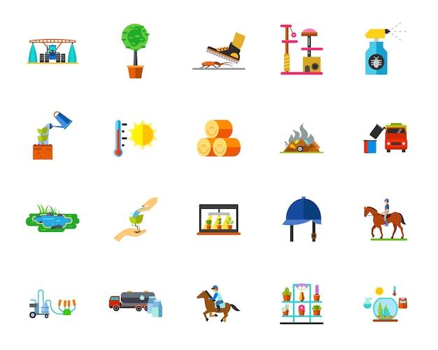 Conjunto de ícones das terras agrícolas