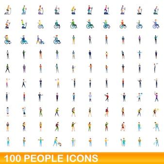 Conjunto de ícones de 100 pessoas. ilustração dos desenhos animados do conjunto de vetores de ícones de 100 pessoas isolado no fundo branco