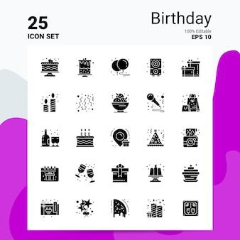 Conjunto de ícones de 25 anos logotipo da empresa conceito idéias glifo sólido ícone