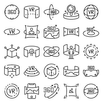 Conjunto de ícones de 360 graus, estilo de estrutura de tópicos