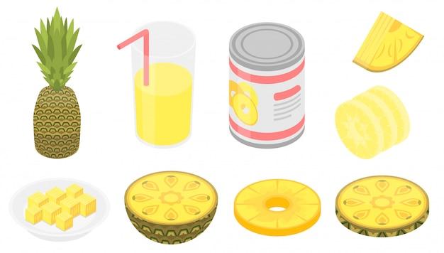 Conjunto de ícones de abacaxi, estilo isométrico