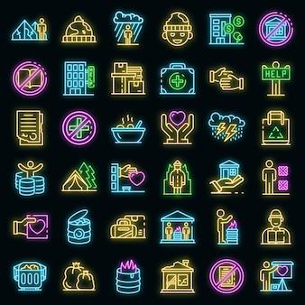 Conjunto de ícones de abrigos de sem-teto. conjunto de contorno de ícones de vetor de abrigos para moradores de rua, cor de néon no preto