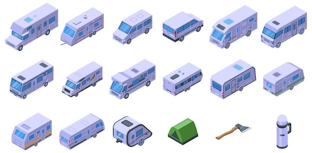 Conjunto de ícones de acampamento automático. conjunto isométrico de ícones de acampamento automático para web isolado no fundo branco