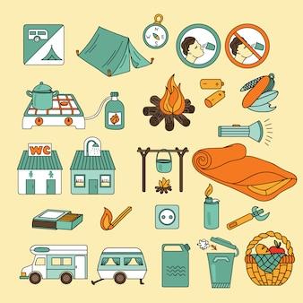 Conjunto de ícones de acampamento de verão