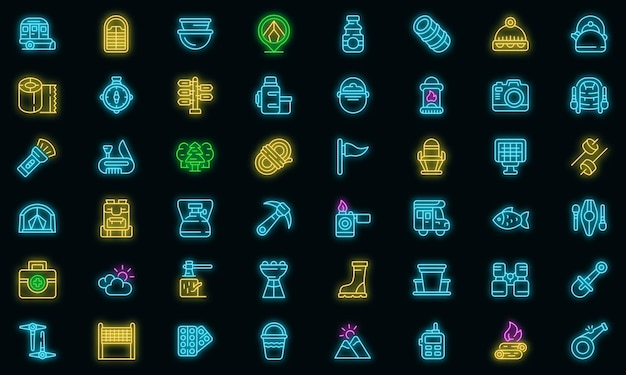 Conjunto de ícones de acampamento em vetor de néon