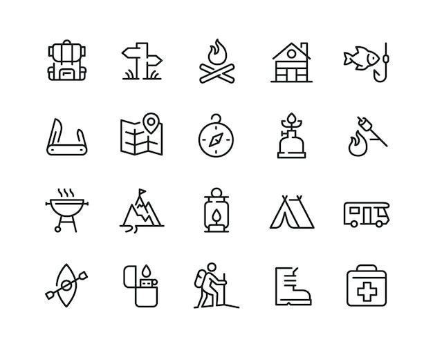 Conjunto de ícones de acampamento mínimo