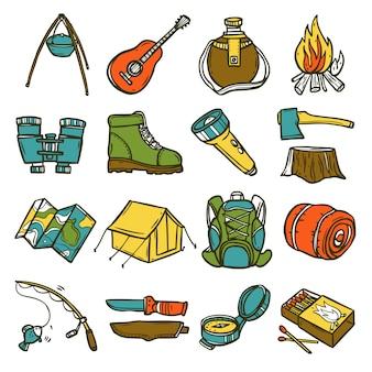 Conjunto de ícones de acampamento