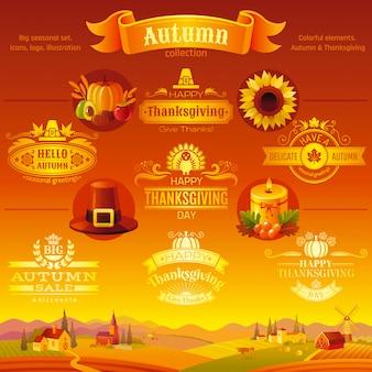 Conjunto de ícones de ação de graças. ícones dos desenhos animados festival logotipo e logotipo com fundo de paisagem rural.