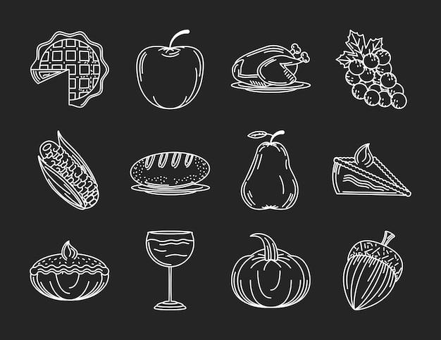 Conjunto de ícones de ação de graças