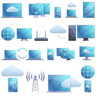 Conjunto de ícones de acesso remoto, estilo cartoon