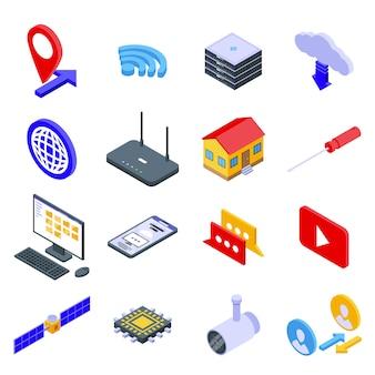 Conjunto de ícones de acesso remoto, estilo isométrico