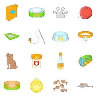 Conjunto de ícones de acessórios de gatos