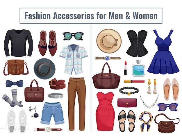 Conjunto de ícones de acessórios de homens e mulheres