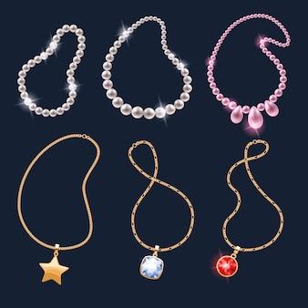 Conjunto de ícones de acessórios de joias colares realistas.