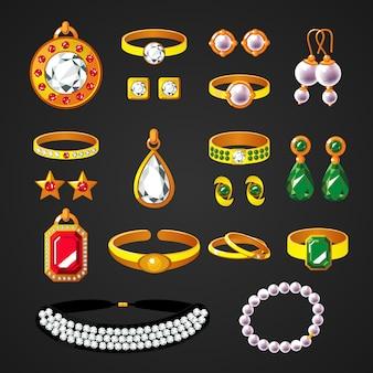 Conjunto de ícones de acessórios de joias coloridas