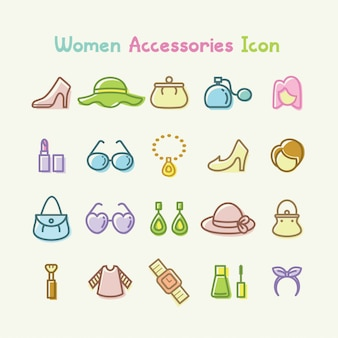Conjunto de ícones de acessórios de mulheres ilustração vetorial