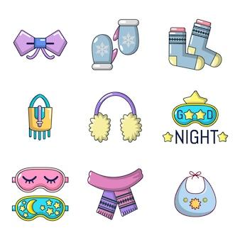 Conjunto de ícones de acessórios de roupas. conjunto de desenhos animados de roupas acessórios vetor ícones conjunto isolado